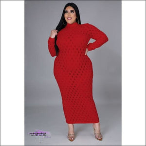 'Let These Curves Breathe' Fishnet Maxi Dress Red / 4X