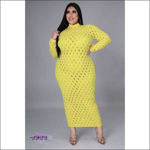 'Let These Curves Breathe' Fishnet Maxi Dress Yellow / 5X