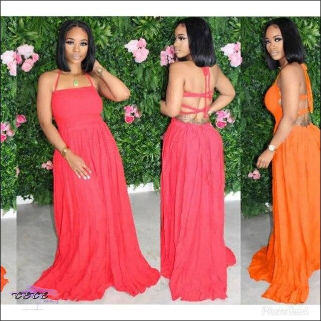 'Letting My Sexy Flow' Spaghetti Strap Long Maxi Dress orange / 2X