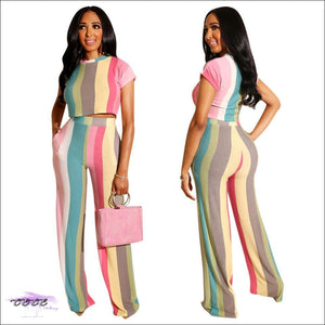 Lickable Lollipop Color Striped Two Piece Tracksuit
