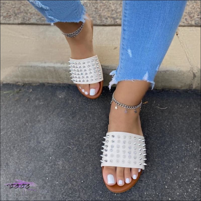 'Made For Cute Toes' Diamond-Studded Spike Slippers White / 12