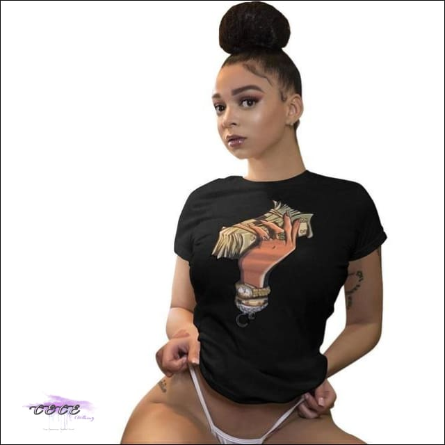 Adogirl Plus Size S-3XL Dollar Print Summer T Shirt O Neck Short Sleeve Casual Dollar Tees Women black / L