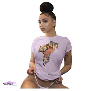 Adogirl Plus Size S-3XL Dollar Print Summer T Shirt O Neck Short Sleeve Casual Dollar Tees Women light purple / L