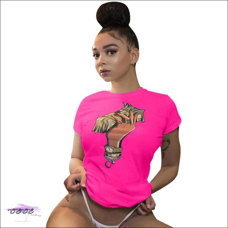 Adogirl Plus Size S-3XL Dollar Print Summer T Shirt O Neck Short Sleeve Casual Dollar Tees Women