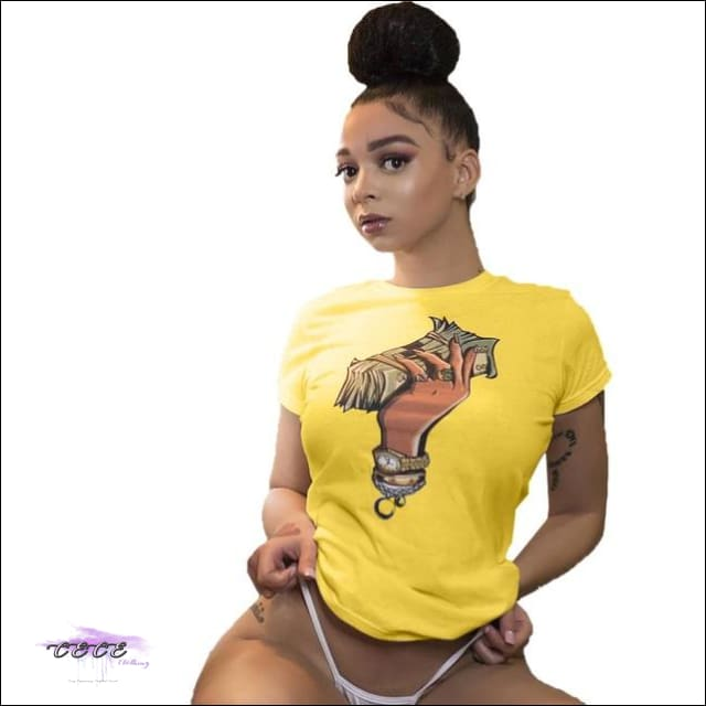Adogirl Plus Size S-3XL Dollar Print Summer T Shirt O Neck Short Sleeve Casual Dollar Tees Women yellow / 3X