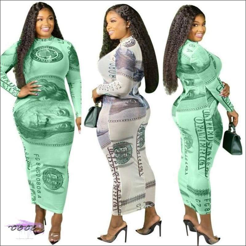 'Making Dem Dollaz' Plus Size Mesh Maxi Dress