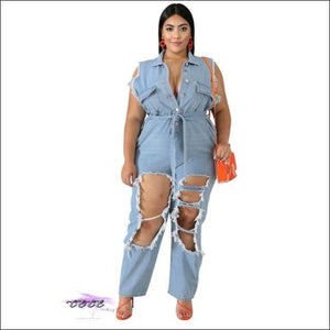'Making Ya Pause' Ripped Washed Denim Jumpsuit light blue romper / 1X / United States