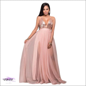 Mesmerize Is What I Do Long Sequin Pink Party Dress