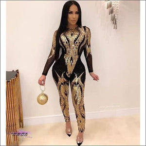 My Curves Are Gorgeous Floral Sequins Sheer Mesh Jumpsuit gold jumpsuit / S