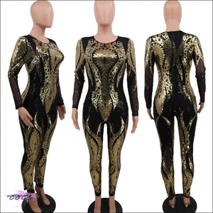 My Curves Are Gorgeous Floral Sequins Sheer Mesh Jumpsuit