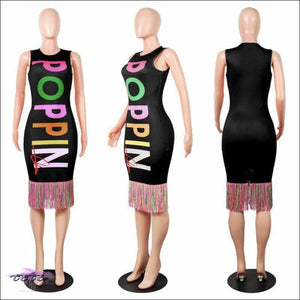My Curves Are Poppin Colorful Midi Dress black dress / S