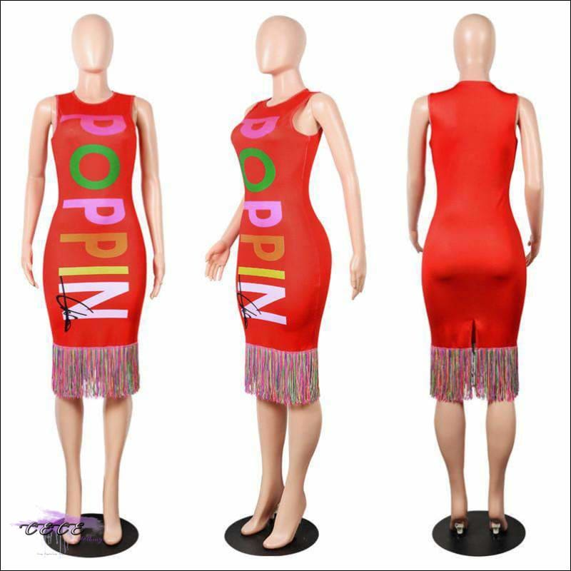 My Curves Are Poppin Colorful Midi Dress red dress / S