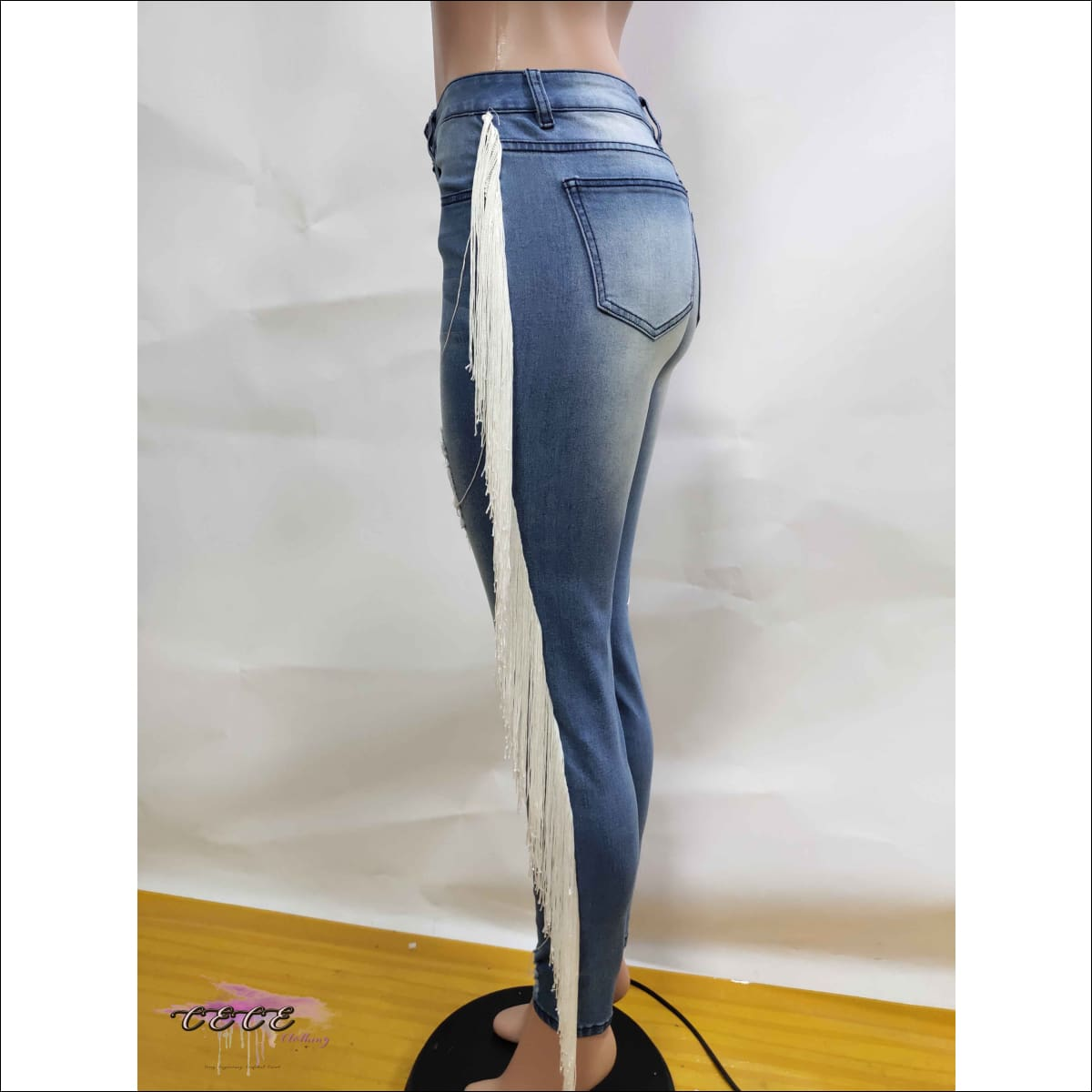 Curvy Treat Distressed Tassel Mid-Waist Skinny Jeans
