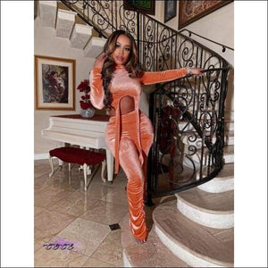 'My Curves Be On Yo Mind' Velvet Two Piece Turtleneck Tracksuit orange suit / L / United States