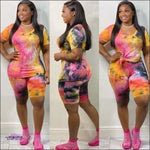 'My Curves Set It Off' Two Piece Tye Dye Shirt & Shorts Set Dark Tye Dye / 2X