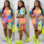 'My Curves Set It Off' Two Piece Tye Dye Shirt & Shorts Set