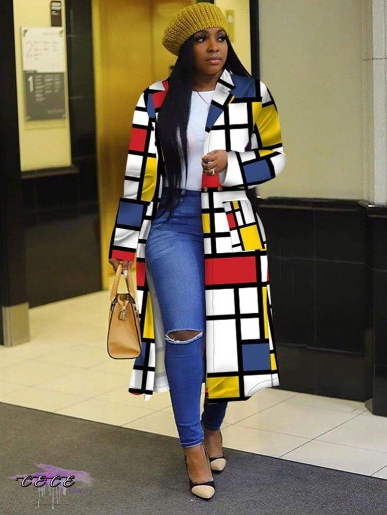 'My Fashion On Point' Plaid Double Breasted Trench Coat