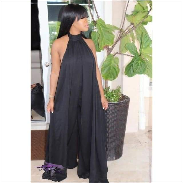 'My Love Comes Down' Sheer Sleeveless Halter Loose Jumpsuit black jumpsuit / XXXL / United States