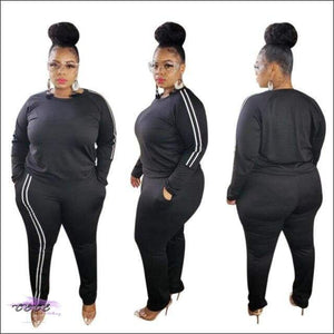 'My Thickness Is Ya Witness' Two Piece Long Sleeve Stripe Tracksuit black suit / XL / United States