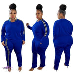 'My Thickness Is Ya Witness' Two Piece Long Sleeve Stripe Tracksuit blue suit / XL / United States