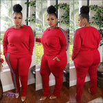 'My Thickness Is Ya Witness' Two Piece Long Sleeve Stripe Tracksuit