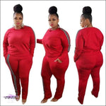 'My Thickness Is Ya Witness' Two Piece Long Sleeve Stripe Tracksuit red suit / 4XL / United States