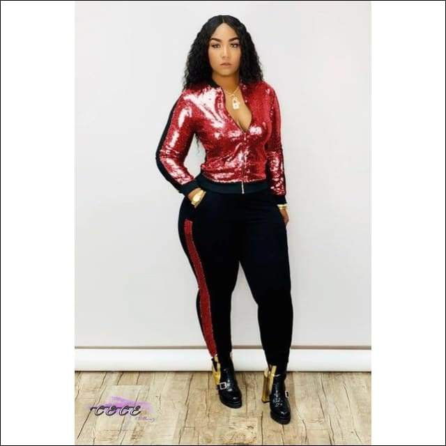 'My Wardrobe On Point' Sequins Patchwork Two Piece Tracksuit red suit / S / United States