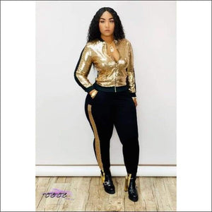 'My Wardrobe On Point' Sequins Patchwork Two Piece Tracksuit gold suit / M / United States