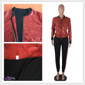 'My Wardrobe On Point' Sequins Patchwork Two Piece Tracksuit