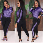 'My Wardrobe On Point' Sequins Patchwork Two Piece Tracksuit purple suit / M / United States