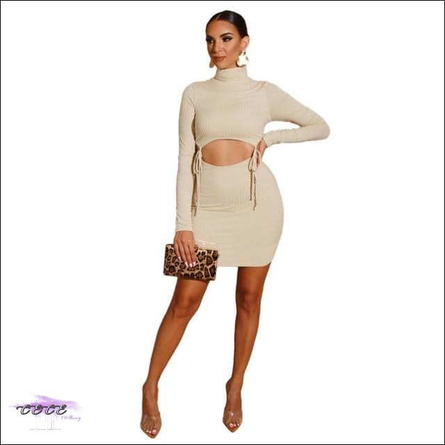 Oooo Wee Wee Hollow Out 2 Piece Set Skirt Beige / 1X