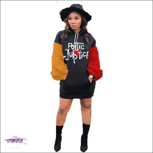 'Poetic Justice' Embroidery Hoodie Sweatshirt Mini Dress black / 2X
