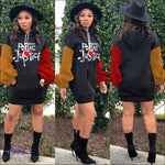 'Poetic Justice' Embroidery Hoodie Sweatshirt Mini Dress
