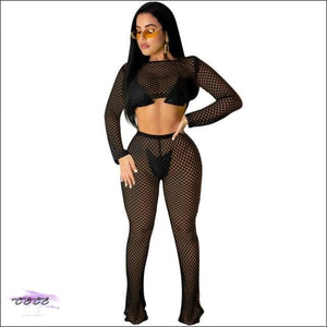 See My Curves Solid Fishnet Two Piece Set black two piece set / S