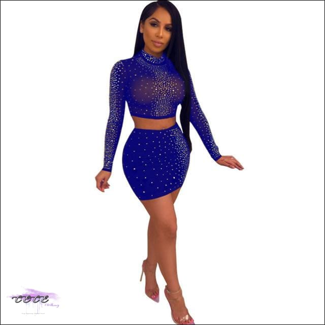 Adogirl Diamonds Sheer Mesh Two Piece Set Women Sexy Dress Mock Neck Long Sleeve Crop Top Bodycon blue 2 piece set / S / United States