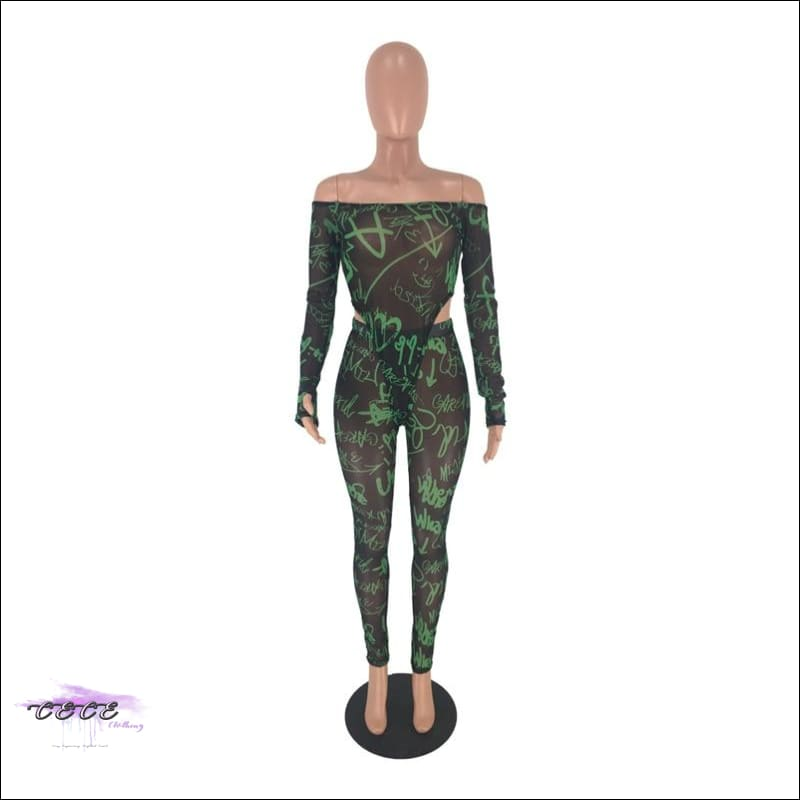 'Sexy By No Mistake' Sheer Mesh Two Piece Jumpsuit (Bodysuit + Pencil Pants)