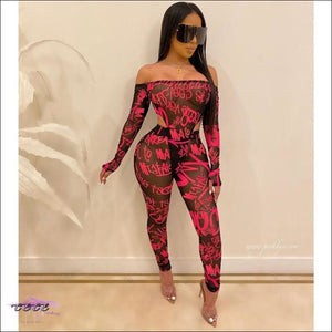 'Sexy By No Mistake' Sheer Mesh Two Piece Jumpsuit (Bodysuit + Pencil Pants) Pink / L