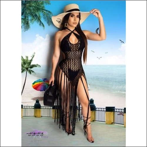 Sexy Crochet Fishnet Long Tassel Summer Beach Dress black dress / S