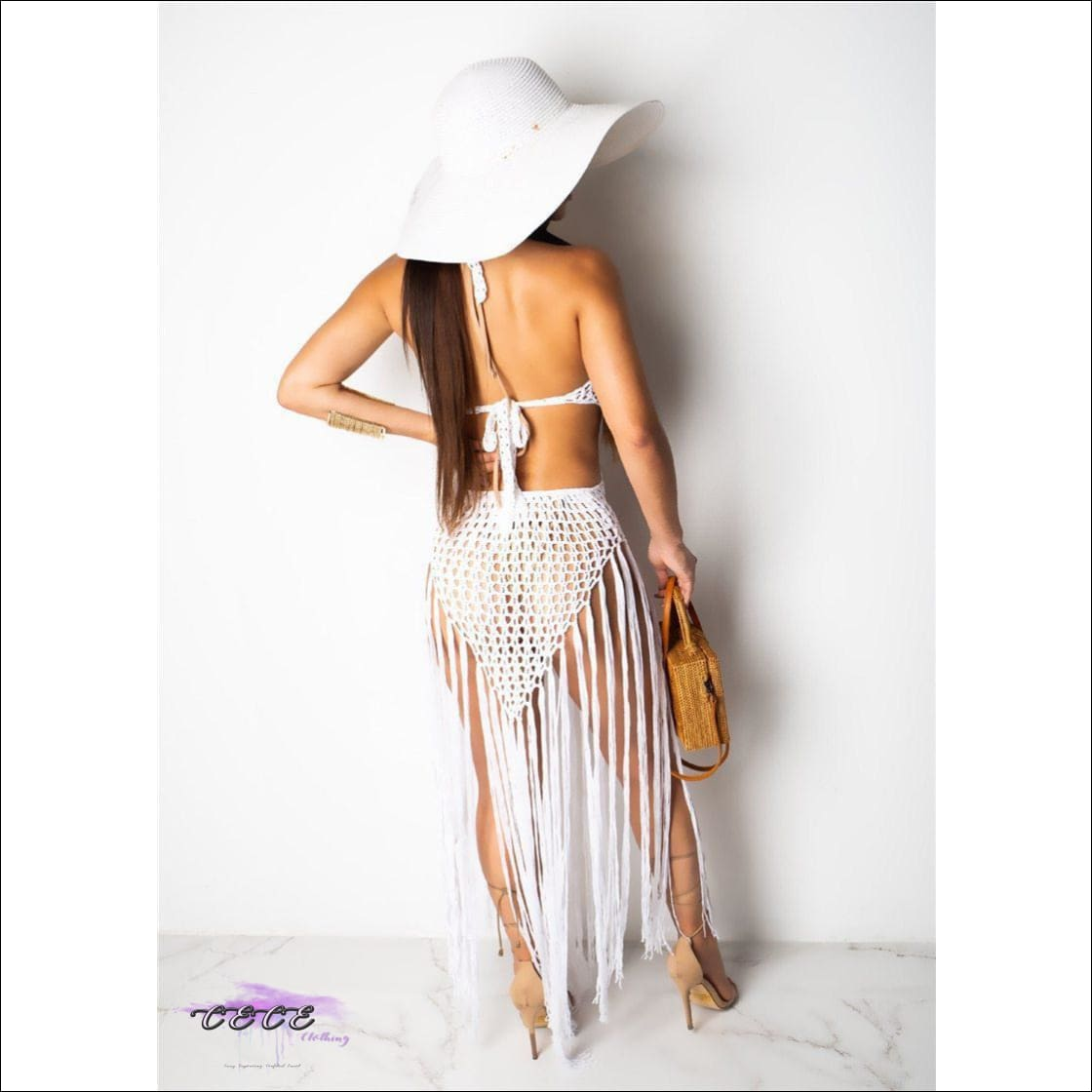 Sexy Crochet Fishnet Long Tassel Summer Beach Dress