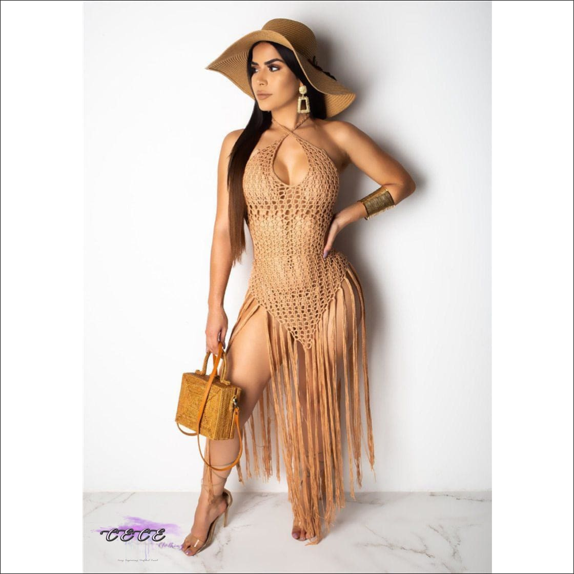 Sexy Crochet Fishnet Long Tassel Summer Beach Dress khaki dress / S