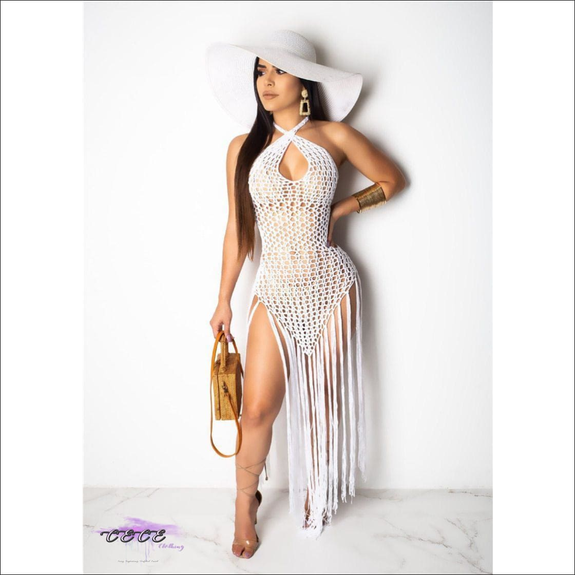 Sexy Crochet Fishnet Long Tassel Summer Beach Dress White dress / S