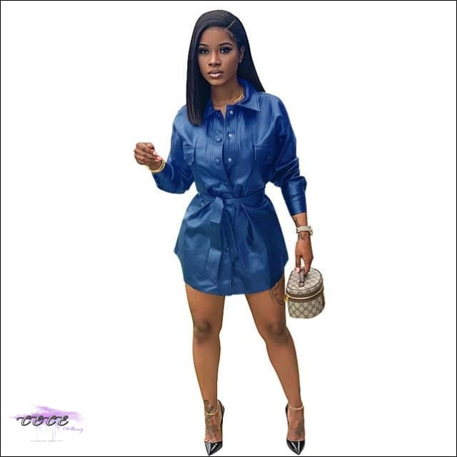 'Sexy & Flawless' Button Up Leather Mini Dress blue / L