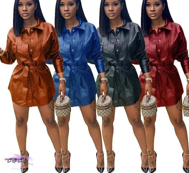'Sexy & Flawless' Button Up Leather Mini Dress