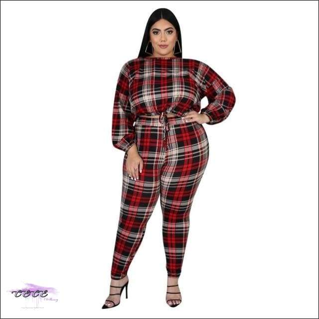 'Sexy In Plaid' Long Sleeve Two Piece Plaid Jumpsuit rosy / 1X / United States