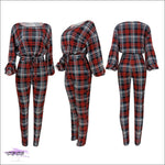 'Sexy In Plaid' Long Sleeve Two Piece Plaid Jumpsuit