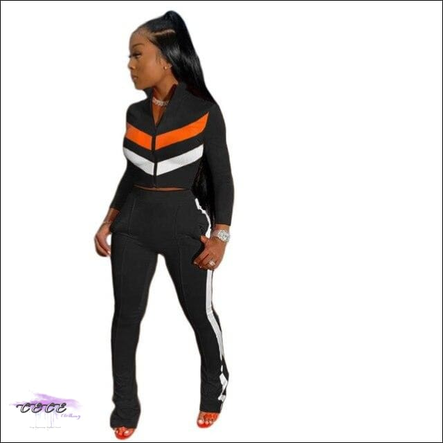 'Sexy In These Streets' Two Piece Tracksuit Set black suit / S