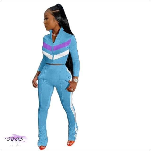 'Sexy In These Streets' Two Piece Tracksuit Set light blue suit / L