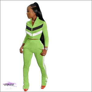 'Sexy In These Streets' Two Piece Tracksuit Set light green suit / M