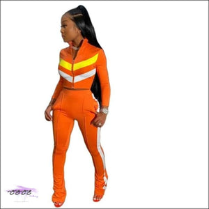 'Sexy In These Streets' Two Piece Tracksuit Set orange 2 piece set / M