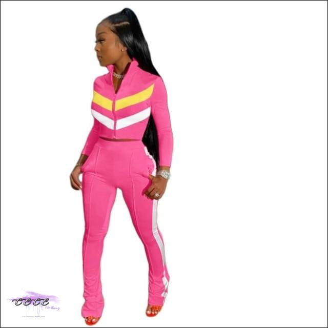 'Sexy In These Streets' Two Piece Tracksuit Set pink 2 piece set / L